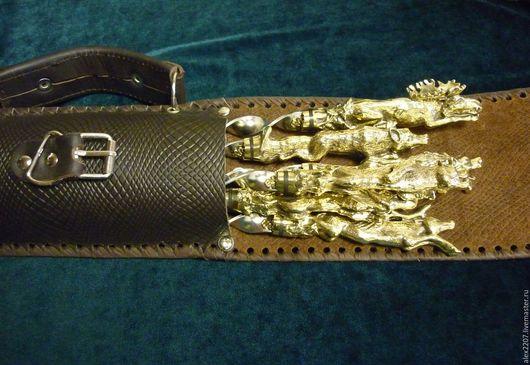"""Подарки для мужчин, ручной работы. Ярмарка Мастеров - ручная работа. Купить Чехол для шампуров """"ОХОТА""""(натуральная кожа), с мангалом. Handmade. Коричневый"""
