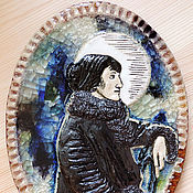 Картины и панно ручной работы. Ярмарка Мастеров - ручная работа Анна Ахматова (керамическое панно). Handmade.