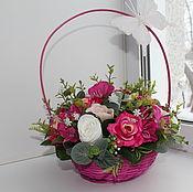 Цветы и флористика ручной работы. Ярмарка Мастеров - ручная работа Корзина роз. Handmade.