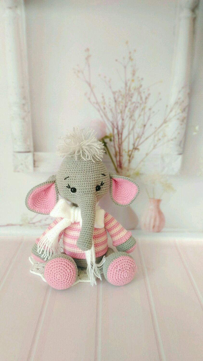 Слоник Слоненок вязаный Слоняша Игрушка ручной работы слон, Мягкие игрушки, Омск,  Фото №1