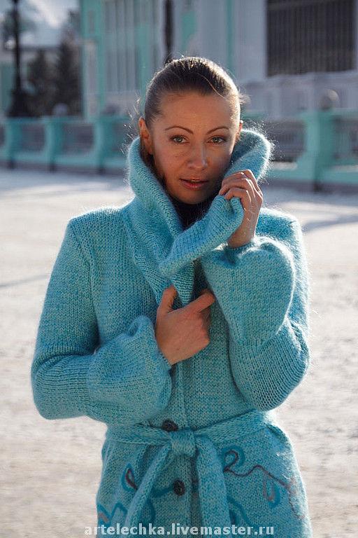 """Верхняя одежда ручной работы. Ярмарка Мастеров - ручная работа. Купить Пальто """"На  бирюзовом облаке"""". Handmade. Пальто, шерсть"""