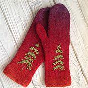 Аксессуары handmade. Livemaster - original item Felted mittens knit mixed media tree. Handmade.