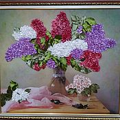 Картины ручной работы. Ярмарка Мастеров - ручная работа Картина вышитая лентами. Handmade.