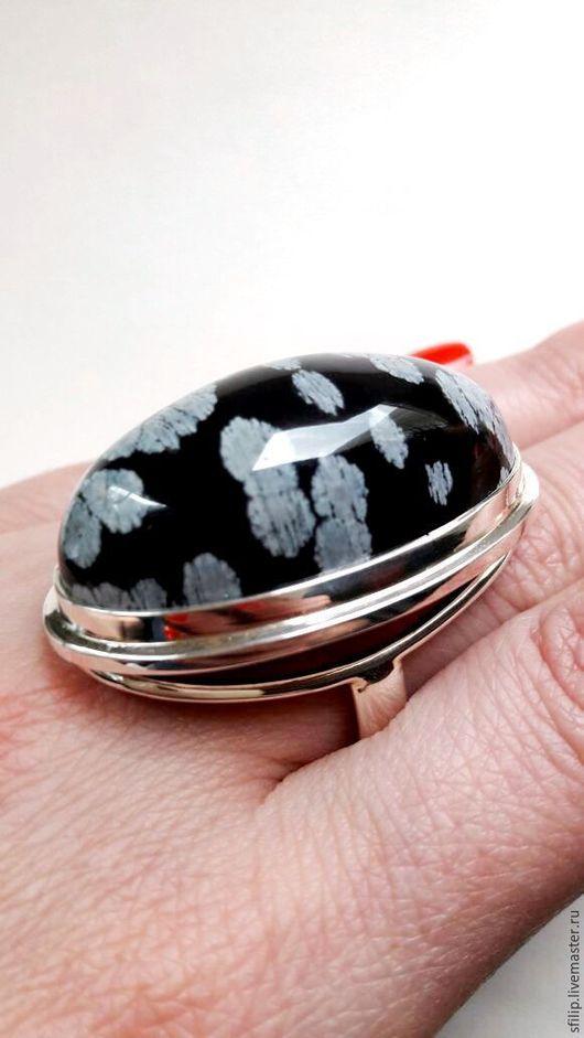 """Кольца ручной работы. Ярмарка Мастеров - ручная работа. Купить Кольцо""""Volcano force""""-снежный обсидиан,серебро 925. Handmade."""
