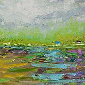 """Картины и панно ручной работы. Ярмарка Мастеров - ручная работа """"Бирюзовый ручей"""" 65х65 см картина маслом мастихином пейзаж. Handmade."""