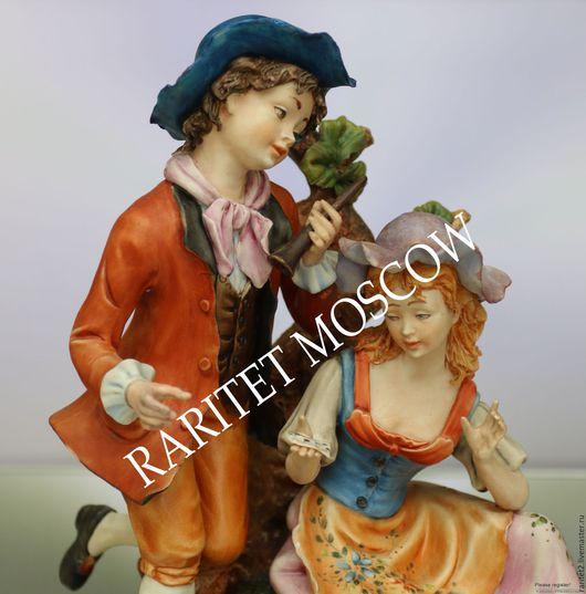Винтажные предметы интерьера. Ярмарка Мастеров - ручная работа. Купить Девушка кавалер пара собака Каподимонте Италия 40. Handmade.