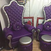 Для дома и интерьера handmade. Livemaster - original item Purple Chair throne with carriage tie. Handmade.