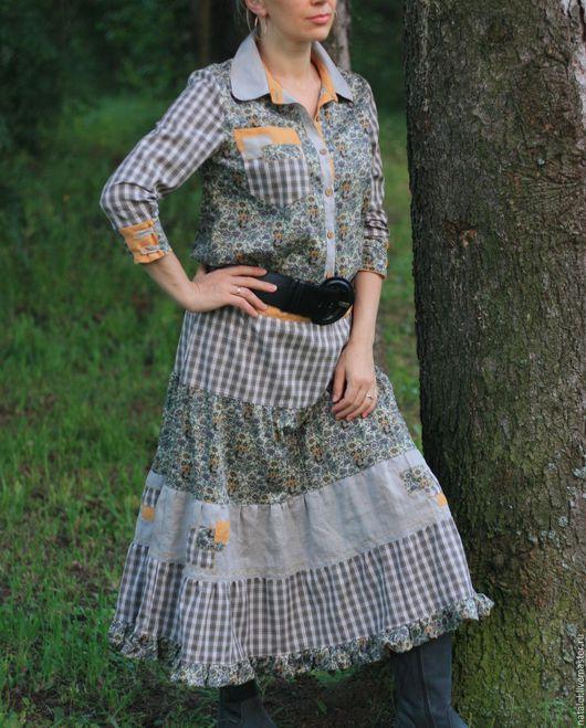 Платья ручной работы. Ярмарка Мастеров - ручная работа. Купить Платье-рубашка авторское, клетка, лен, хлопок, стиль БОХО, кантри. Handmade.