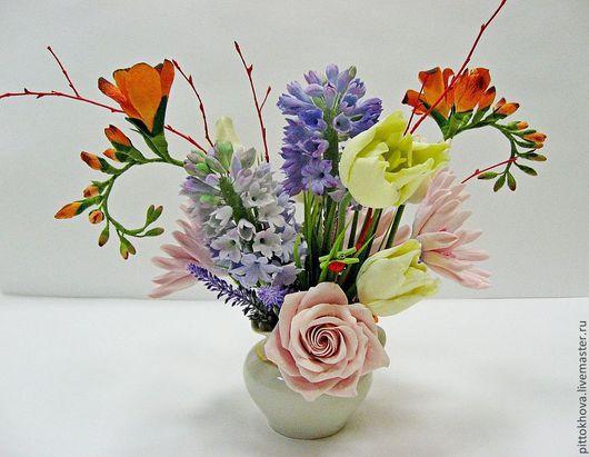 """Букеты ручной работы. Ярмарка Мастеров - ручная работа. Купить Букет цветов из полимерной глины """"Гиацинты и тюльпаны"""". Handmade. Гиацинты"""