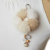 Украшения handmade. Livemaster - original item Brooch from a natural mink of light shades with agate and pearls. Handmade.