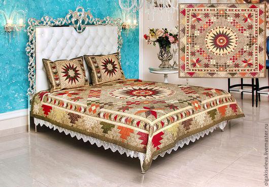 """Текстиль, ковры ручной работы. Ярмарка Мастеров - ручная работа. Купить Комплект для спальни """"Сумеречная звезда"""". Handmade. Спальня, шитье"""