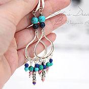 Украшения handmade. Livemaster - original item Earrings Elegance of the East, long earrings turquoise lapis Jasper East. Handmade.