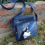 Сумки и аксессуары handmade. Livemaster - original item Bag denim Husky (applique). Handmade.