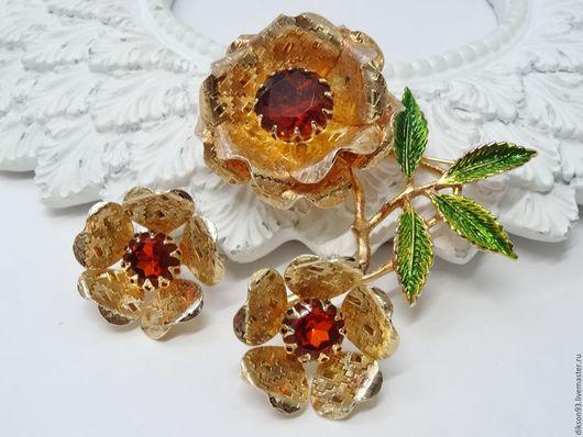 """Винтажные украшения. Ярмарка Мастеров - ручная работа. Купить Комплект """"Ember flower"""" от Sarah Coventry. Клипсы брошь винтаж. Handmade."""