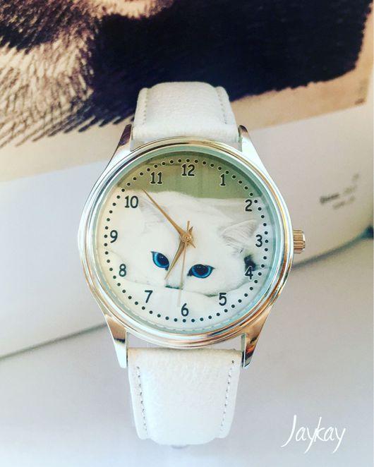 """Часы ручной работы. Ярмарка Мастеров - ручная работа. Купить Наручные часы JK """"Котик"""". Handmade. Часы, часы в подарок"""