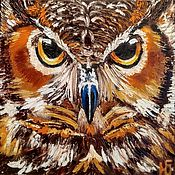 Картины и панно handmade. Livemaster - original item Painting owl, painting with owl Wise owl oil palette knife. Handmade.