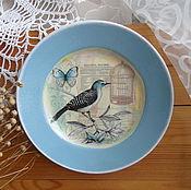 Картины и панно ручной работы. Ярмарка Мастеров - ручная работа Тарелочка с голубой каемочкой прованс. Handmade.
