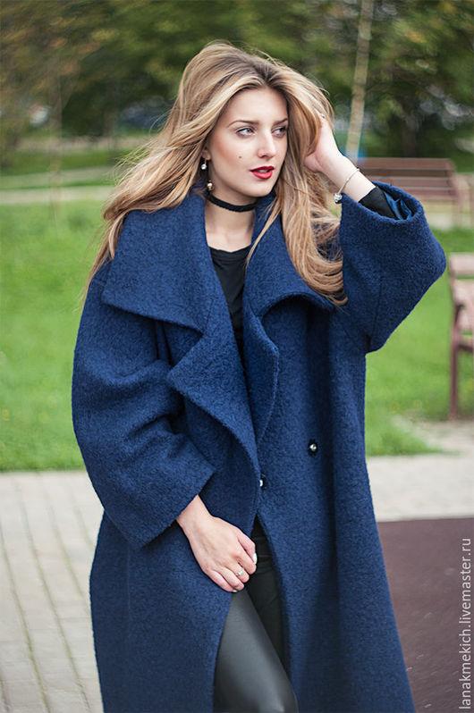 """Верхняя одежда ручной работы. Ярмарка Мастеров - ручная работа. Купить Пальто - халат  с поясом """"Синее пальто"""". Handmade."""