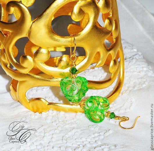 Серьги ручной работы. Ярмарка Мастеров - ручная работа. Купить Вензель принцессы весны. Серьги.. Handmade. Зеленый, красота, радость