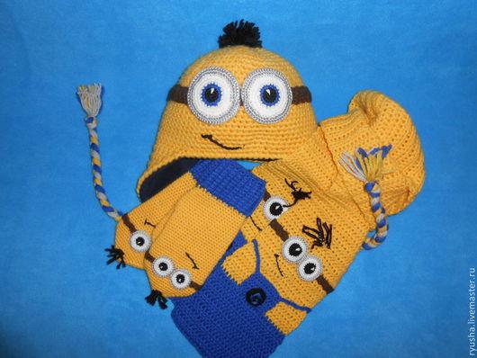 """Шапки и шарфы ручной работы. Ярмарка Мастеров - ручная работа. Купить Шапка, варежки и шарф """" Миньоны"""". Handmade."""
