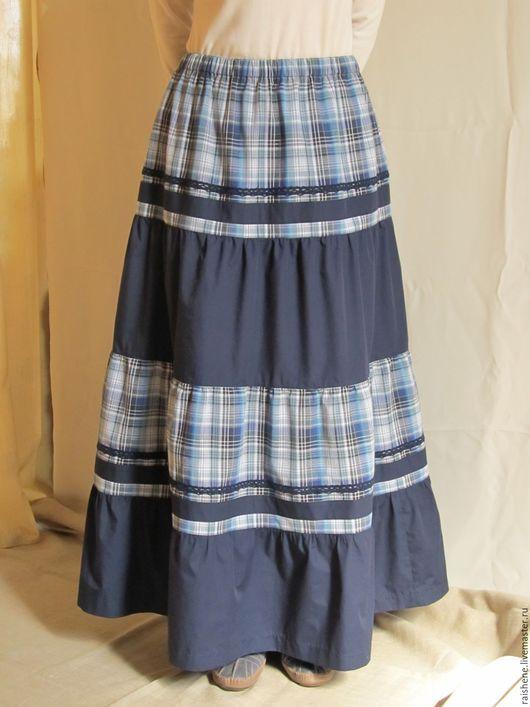 Юбки ручной работы. Ярмарка Мастеров - ручная работа. Купить длинная юбка бохо Кантри. Handmade. Тёмно-синий