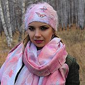 Аксессуары handmade. Livemaster - original item Beanie felted scarf Gentle sleep. Handmade.