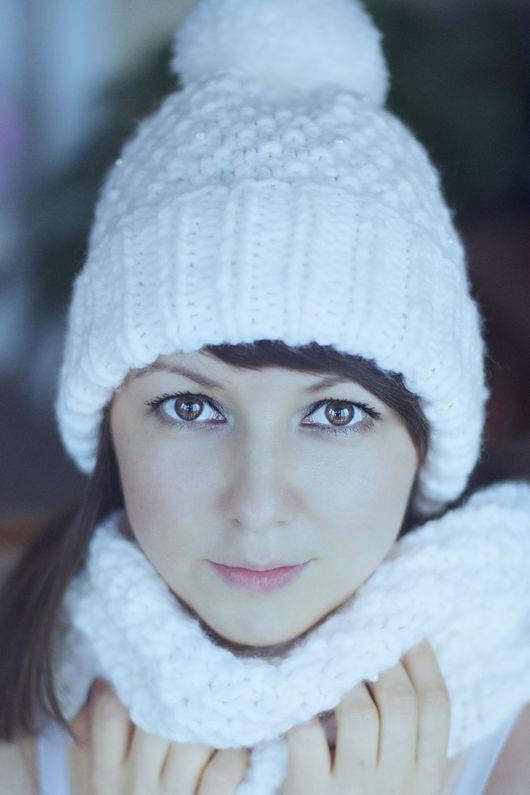 Шапки ручной работы. Ярмарка Мастеров - ручная работа. Купить Белоснежный комплект шарф и снуд. Handmade. Белый, Снег