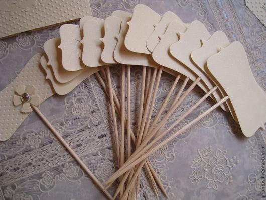 Рассадочные карточки ручной работы. Ярмарка Мастеров - ручная работа. Купить Рассадочные карточки на шпажках. Handmade. Бежевый, свадебные аксессуары