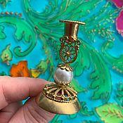 handmade. Livemaster - original item @ Brass candle holder with imitation pearls. RUSSIA.. Handmade.