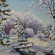 """Картины ручной работы. Ярмарка Мастеров - ручная работа Картина """"Зима в лесу"""". Handmade."""