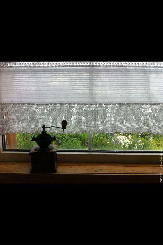 """Текстиль, ковры ручной работы. Ярмарка Мастеров - ручная работа. Купить шторки для дачи """"филейные поросята"""". Handmade. Филейное вязание"""