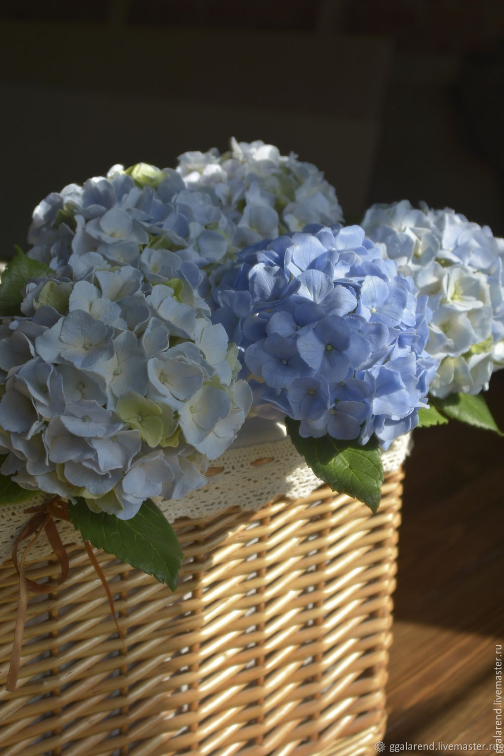 Sky blue hydrangea. Sculpture made of polymer clay, Flowers, Odessa,  Фото №1