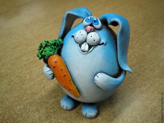 Статуэтки ручной работы. Ярмарка Мастеров - ручная работа. Купить Зайка с морковкой.. Handmade. Разноцветный, зайка, синий цвет