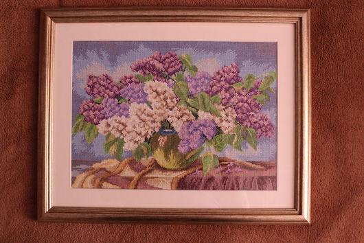Картины цветов ручной работы. Ярмарка Мастеров - ручная работа. Купить Вышитая картина. Букет сирени. Handmade. Сиреневый, сирень