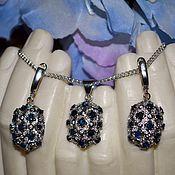 Украшения handmade. Livemaster - original item Pendant and earrings Amrita Sapphire natural Zircon Silver gold Plated. Handmade.