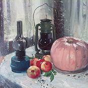 Картины и панно ручной работы. Ярмарка Мастеров - ручная работа Натюрморт с розовой тыквой. Handmade.