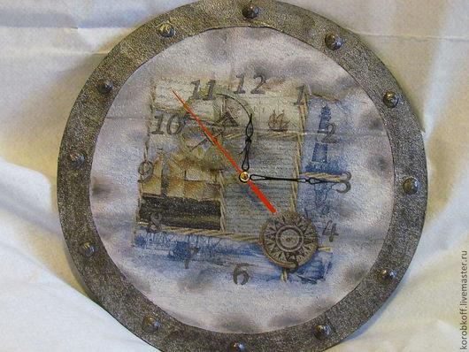 """Часы для дома ручной работы. Ярмарка Мастеров - ручная работа. Купить часы """"Кругосветное путешествие"""". Handmade. Голубой, часы настенные"""