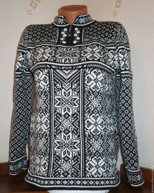Кофты и свитера ручной работы. Ярмарка Мастеров - ручная работа. Купить пуловер норвежские мотивы.. Handmade. Чёрно-белый