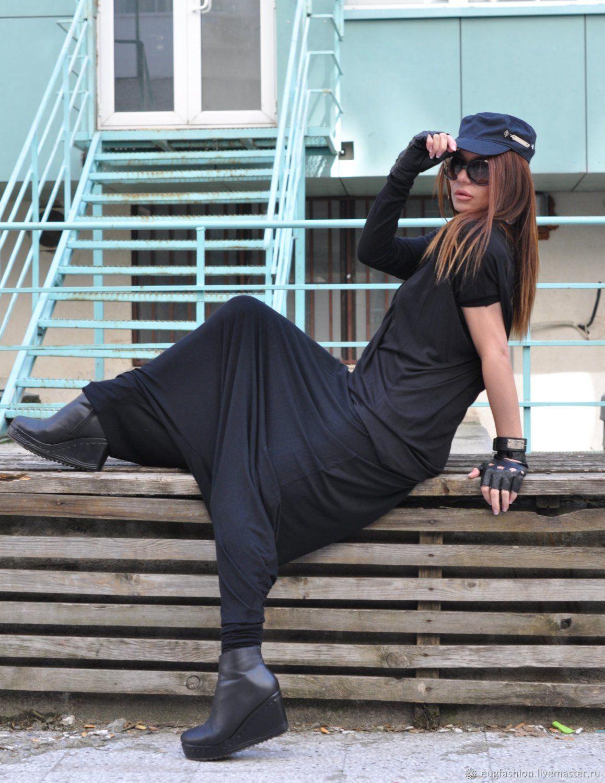 Loose, black cotton pants - PA0800TR, Pants, Sofia,  Фото №1
