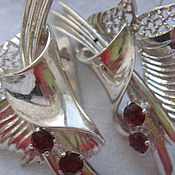 Earrings handmade. Livemaster - original item Garnet Leaf Earrings. Handmade.