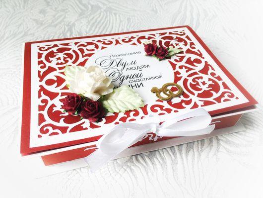 """Свадебные открытки ручной работы. Ярмарка Мастеров - ручная работа. Купить БОЛЬШАЯ свадебная открытка- коробочка """" Изящество"""". Handmade."""