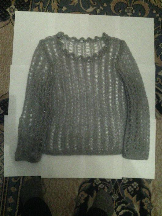"""Кофты и свитера ручной работы. Ярмарка Мастеров - ручная работа. Купить Пуловер """"Паутинка"""". Handmade. Серый, пуловер ажурный"""