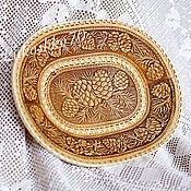 Русский стиль handmade. Livemaster - original item Birch bark plate. Dishes made of birch bark. cones.. Handmade.