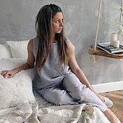 Одежда handmade. Livemaster - original item Linen pajamas. 100% linen. Softened. pants.. Handmade.