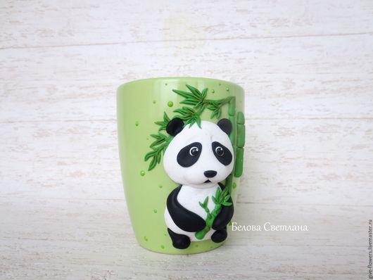Кружки и чашки ручной работы. Ярмарка Мастеров - ручная работа. Купить Кружка Панда. Handmade. Салатовый, панда с бамбуком