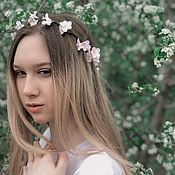 Свадебный салон handmade. Livemaster - original item Flexible twig-vine with white flowers. polymer clay.. Handmade.