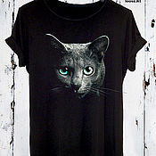 Одежда handmade. Livemaster - original item Black Cat print t-shirt - TEE10086CT. Handmade.