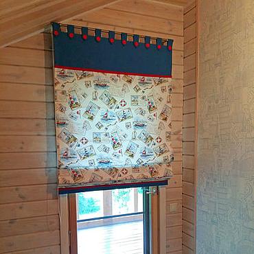 Для дома и интерьера ручной работы. Ярмарка Мастеров - ручная работа Римская штора для двери на петлях с пуговицами. Handmade.