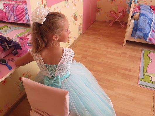 """Одежда для девочек, ручной работы. Ярмарка Мастеров - ручная работа. Купить Нарядное платье для девочки """"Тиффани"""" (пояс  с декором). Handmade."""