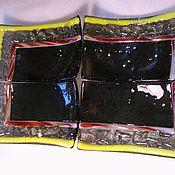Посуда ручной работы. Ярмарка Мастеров - ручная работа набор из 4-х тарелочек. Стекло.Фьюзинг.. Handmade.